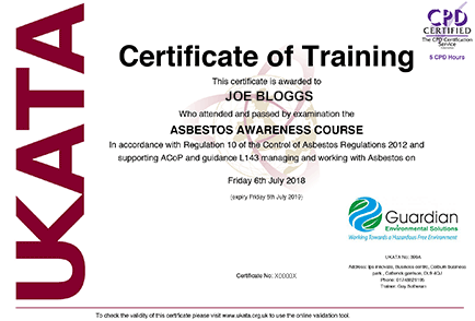 Guardian Solutions UKATA Asbestos Awareness Training Certificate
